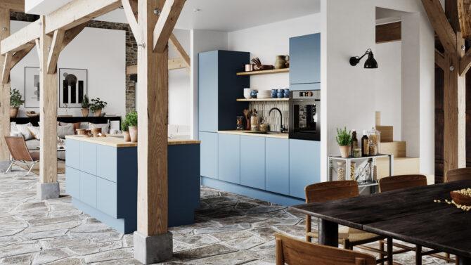 aubo sense køkken i blå