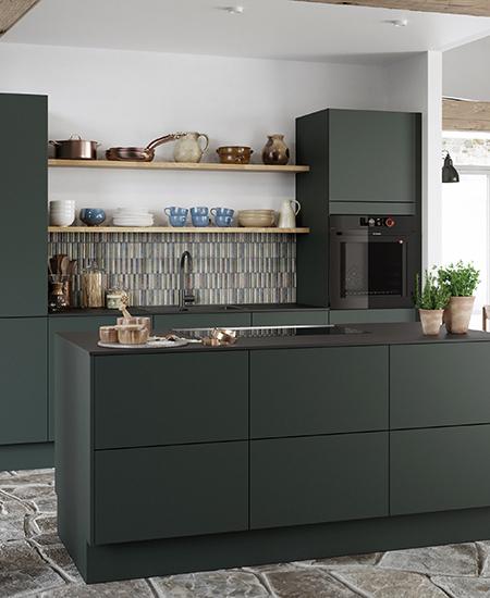 aubo sense køkken i grøn