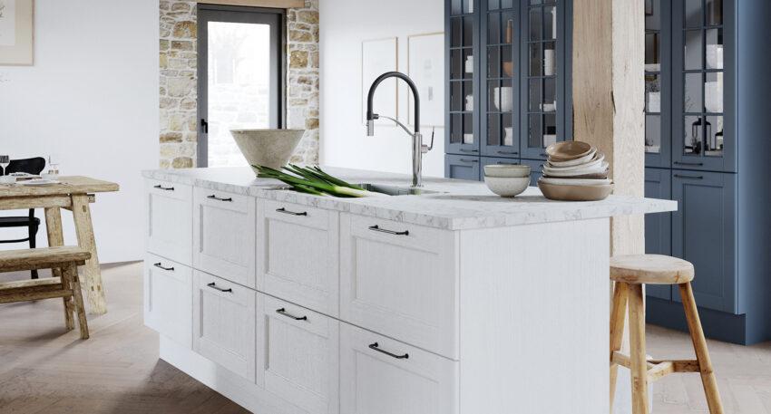 aubo skagerak køkkenø i hvid med marmorbordplade