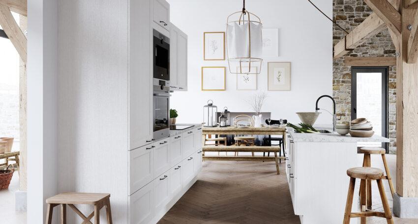 aubo skagerak køkken i hvid med marmorbordplade og køkkenø