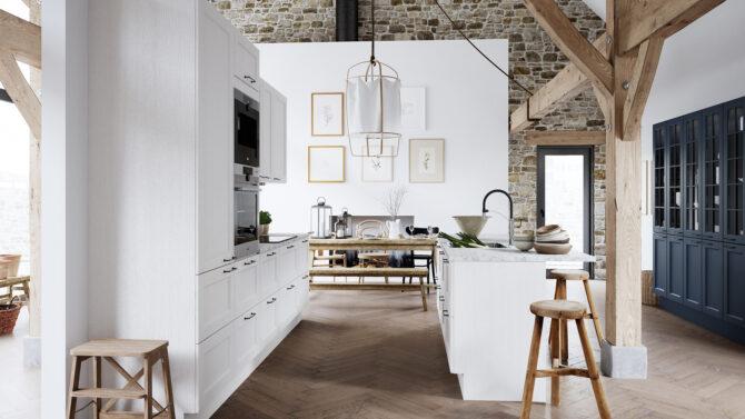 aubo skagerak køkken i hvid med køkkenø