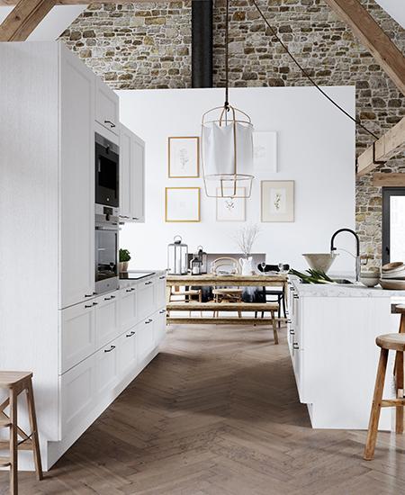 aubo skagerak køkken i hvid med marmorbordplade