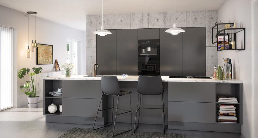 aubo unik køkken i grå med marmorbordplade