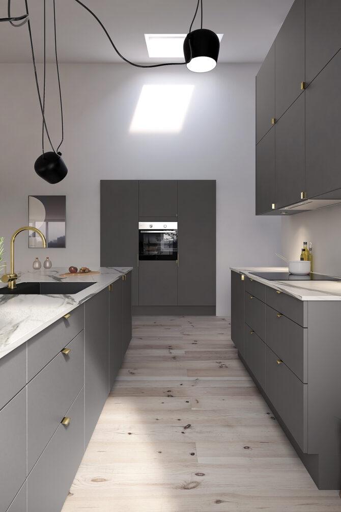aubo unik køkken i grå