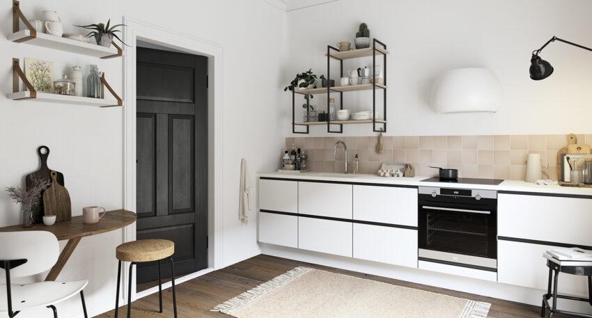 aubo venezia køkken i hvid og sort med hvid bordplade